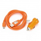 Car Cigarette Lighter Charger + High Speed Micro USD Data Cable for Samsung / Xiaomi / HTC - Orange