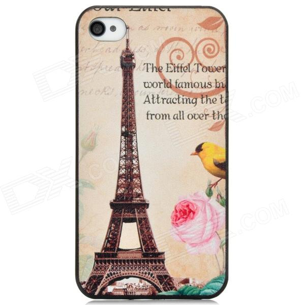 Eiffel Tower Pattern PC Back Case for Iphone 4 / 4S - Multicolored stylish 3d eagle pattern protective abs pc back case for iphone 4 4s multicolored