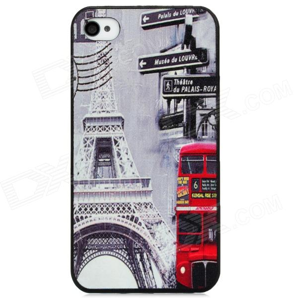 Tower Bus Station Pattern Protective PC Back Case for Iphone 4 / 4S - Light Grey + Red stylish 3d eagle pattern protective abs pc back case for iphone 4 4s multicolored