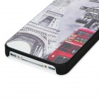 Tower Bus Station Pattern Protective PC Back Case for Iphone 4 / 4S - Light Grey + Red