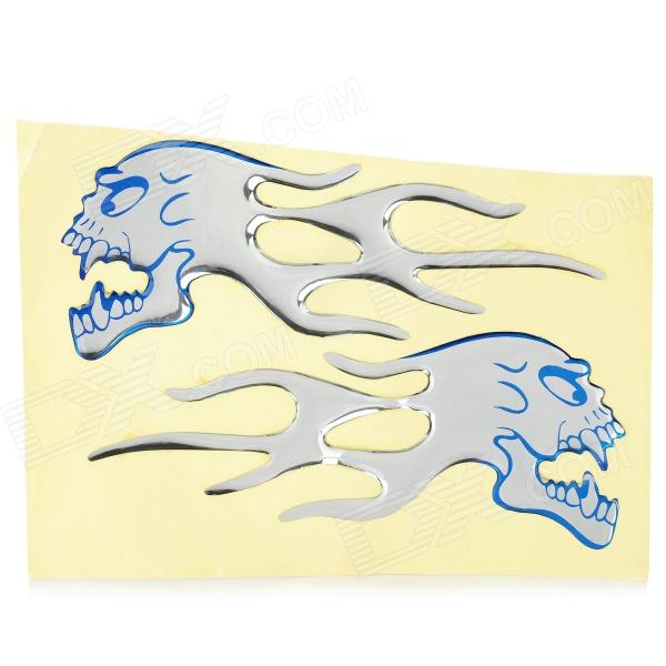 Flame-Like Dragon Head Pattern Motorcycle Car Decoration Stickers - Blue + Silver