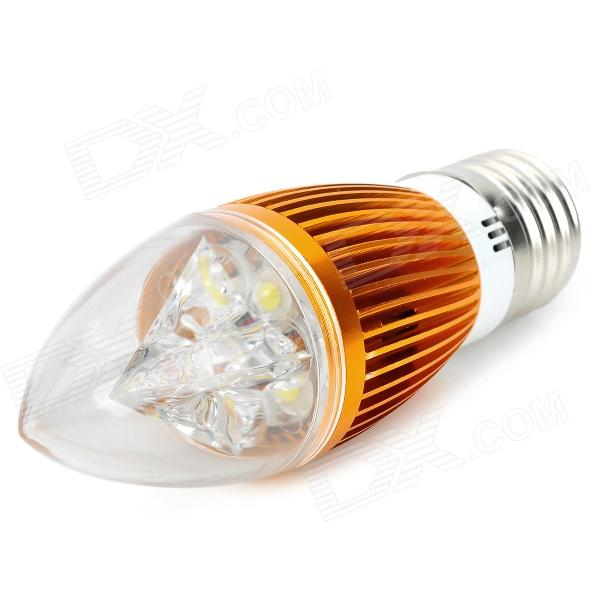 E27 4W 400lm 6300K 4-LED Cool White Light Bulb - Golden (85~265V)