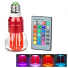 E27 3W 270lm 6500K Seven Color Light Crystal Lamp w/ Remote Controller - Red (AC 85~265)