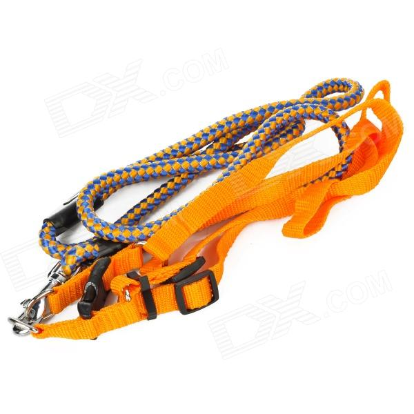 Durable Pet Nylon Braided Robe Dog Training Leash Strap - Blue + Orange
