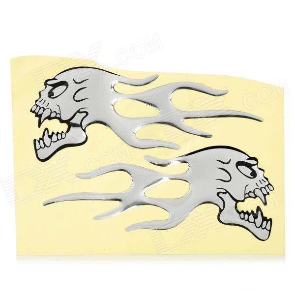Flame-Like Dragon Head Pattern Car Decoration Stickers - Black + Silver