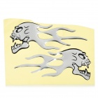 JR006 Flame-Like Dragon Head Pattern Car Decoration Stickers - Black + Silver