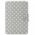 22030052 Polka Dot Pattern Protective PU Case for iPad Mini - Grey