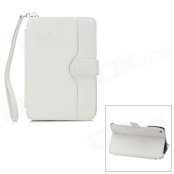 Protective PU Leather Case w/ Holder for iPad Mini - White