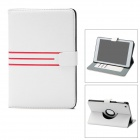 360 Degree Rotary Protective PU Leather Case w/ 3 Card Slots for Ipad MINI - White
