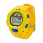 OTS 6231L Water Resistant Rubber Band Electronic Digital Wrist Watch for Children - Yellow + Blue