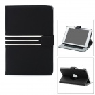 360 Degree Rotary Protective PU Leather Case w/ 3 Card Slots for Ipad MINI - Black