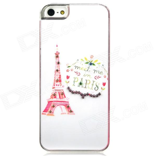 Eiffel Tower w/ Rhinestones Protective Plastic Back Case for Iphone 5 - White + Red london pattern protective plastic back case w front screen protector for iphone 5 grey red