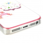 Eiffel Tower w/ Rhinestones Protective Plastic Back Case for Iphone 5 - White + Red