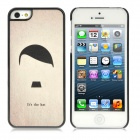 Female Hat Pattern Protective Plastic Back Case for iPhone 5 - Pale Grey + Black