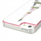 Graffiti Eiffel Tower w/ Rhinestones Protective Plastic Back Case for Iphone 5 - White + Pink