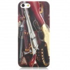 Revolver 2 Pattern Protective Plastic Back Case for iPhone 5 - Red + Black