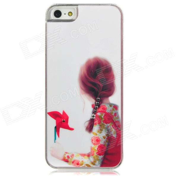 Girl w/ Rhinestones Pattern Protective Plastic Back Case for Iphone 5 - White + Pink + Red girl playing guitar pattern protective back case for iphone 5 white black red