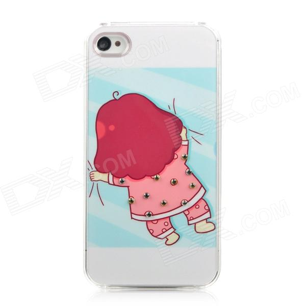 Sleeping Girl Pattern Protective Plastic Back Case for Iphone 4 / 4S - White + Pink + Blue girl pattern glow in the dark protective tpu back case for iphone 4 4s white light pink