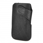 Protective PU Leather Side-Open Case for Iphone 5 - Black