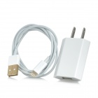 US Power Charging Adapter + Gold Plated USB Cable for iPhone 5 - White