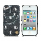 Jeans Style Protective Plastic Back Case for iPhone 4 / 4S - Black