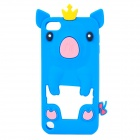 Wearing Crown Pig Pattern Protective Silicone Case for iPod Touch 5 - Blue