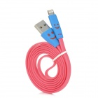XIAOL-8 Smiley Face 8-pin Lightning USB Flat Cable for iPhone 5 / iPad 4 - Deep Pink (105cm)