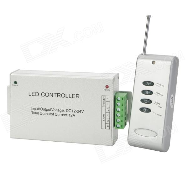3-CH LED Dimmer Controller w/ 4-Key RF Remote Control - Silver switching power supply 350w 15v 23a single output watt power supply for led strip ac110v 220v transformer to dc 15v