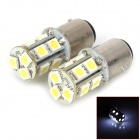 1157 3.5W 169lm 6000K 13-SMD 5050 LED White Light Motorcycle Tail Lights - White + Yellow + Silver