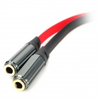 3.5mm Male to 2-3.5mm Female Splitter Audio Cable - Red+Black (21.5cm)