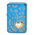 ZORRO Z340034 Love Pattern Windproof Kerosene Oil Lighter - Blue