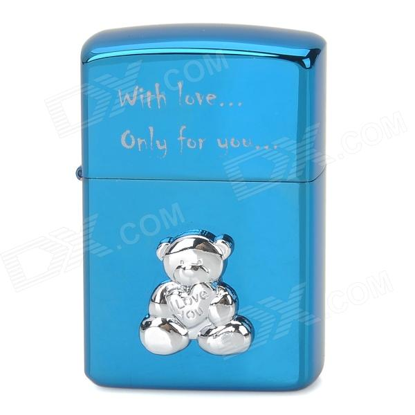 ZORRO Z9645B Bear Pattern Windproof Kerosene Oil Lighter - Blue