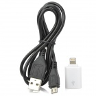 8-pin Lightning Micro USB Adapter + Micro USB Kabel für iPhone 5 - White + Black