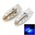 F924B T10 2.4W 86lm 24-SMD 3014 LED Blue Light Car Bulbs - White + Silver