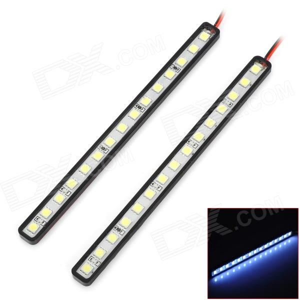 DRL-15*7W 225lm 7000K 2.7W 15-SMD 5050 LED IP67 Waterproof White Light Car Strips - Black auto accessory led drl daytime running lights daylight fog light yellow turn signal led fog lamp for volkswagen vw polo 2014 15