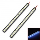 DRL-15*7W 225lm 7000K 2.7W 15-SMD 5050 LED IP67 Waterproof White Light Car Strips - Black