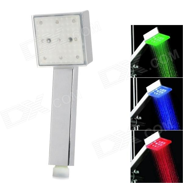 Dreamy Seven Color Light Changing 9-LED Square Shaped Rainfall Shower Head - Silver high pressure handheld shower head with 300 holes