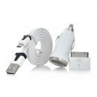 3-in-1 Car Charger + 30-pin Adapter + Micro USB Cable for iPhone 4 / 4S / Samsung N7100 - White