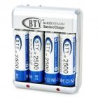 "BTY 825B AA / AAA Battery US Plug Charger w/ 4 x AA ""2500mAh"" Batteries"
