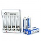 "BTY-825 AA / AAA Battery US Plugs Charger w/ 4 x AA ""2500mAh"" Batteries"
