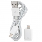 Micro USB to 8-pin Lightning / Micro USB Data / Charging Cable for iPhone 5 / iPad + More - White