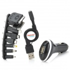 Car Charger + Retractable USB Charging Cable + 8 Adapters for iPhone / Samsung / HTC + More - Black
