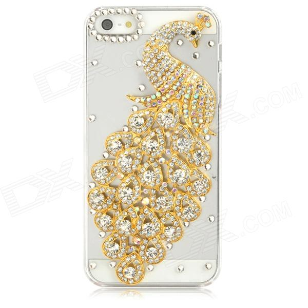 Peacock Pattern w/ Crystals Protective Plastic Back Case for Iphone 5 - Golden + Transparent handpainted peacock and leaf pattern pillow case