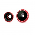ZEA-F180R 3-in-1 Fish Eye + 0.67X Wide Angle + Macro Lens Camera Kit for Iphone 5 - Red