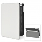 Stylish Protective PU Leather Case w/ Hand Strap for Ipad MINI - White + Black