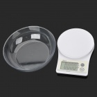 "WH-B10 2.6"" LCD Electronic Kitchen Scale w/ Bowl- White + Beige (2 x AAA)"