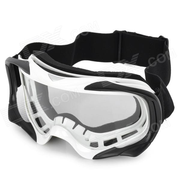 T815-18 Racing Motorcycle Skiing Protection Sunglasses Goggles - Black + White