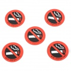 No Smoking Pattern Mark / Warning Car Stickers Set - Red + Black + White (5 PCS)