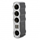 WF-4008 1-to-4 Dual-USB Car Cigarette Lighter Socket - Black