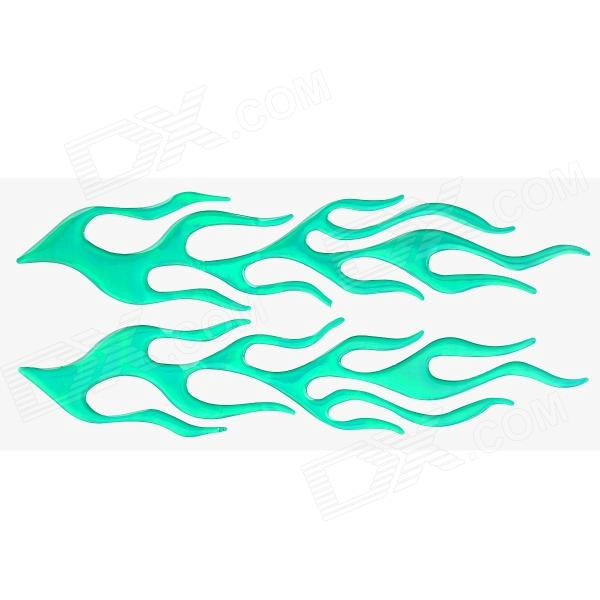 Cool 3D Flame Style DIY Decoration Stickers for Car / Motorcycle - Green (2 PCS)